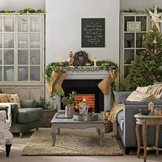 Need traditional living room decorating ideas? Take a look at this grey and taupe Christmas living room from Ideal Home for inspiration. For more living room ideas, visit our living room galleries at Christmas Interiors, Christmas Living Rooms, Rustic Christmas, Christmas Home, Xmas, Christmas Lounge, Christmas Hallway, Classy Christmas, Christmas Fireplace