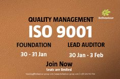 Mastering the Audit of a Quality Management System (QMS) based on ISO 9001. Register now and guarantee your date.