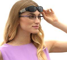 Solar Shield 'Adele' Black frame with gray lenses. Wear over your glasses