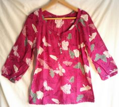White Stuff Pink Butterfly Shirt Top Sizes 8-16