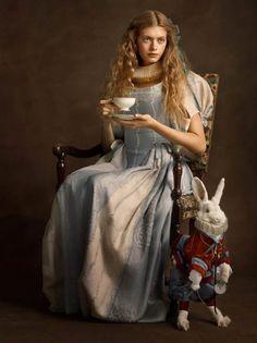 "Alice in Wonderland / karen cox. The Look: Wonderland - ""Super Flemish"" by Sacha Goldberger Cultura Pop, Sacha Goldberger, Portraits Victoriens, Portrait Paintings, Der Joker, Renaissance Paintings, Adventures In Wonderland, Wonderland Alice, Alice In Wonderland Photography"