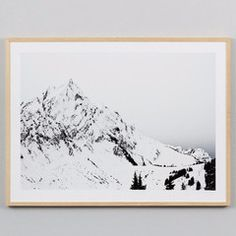 Scandinavian inspired photographic black and white print of the alps. Materials : framed print behind glass, natural timber frameDimensions :...