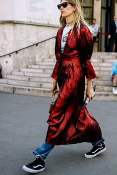 Red satin duster.