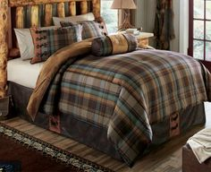Our Buck Creek Plaid Five-Piece Bedding Set brings a blend of rich chestnut, deep brown and gray-blue colors set in plaid for you to rest easy in.