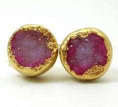 Hot pink druzy stud earrings 18k gold by jennleedesign, $55.20