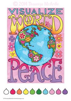 Visualize World Peace Coloring Page from Fun & Funky Coloring Book Treasury by Thaneeya McArdle
