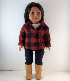 Plaid Jacket, 18 Inch Doll, Top Stitching, Buffalo Plaid, Flannel, Doll Clothes, Coats, Etsy Shop, Fashion Outfits