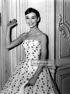 1950's Belgian born American film actress Audrey Hepburn waves at the camera