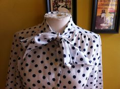 Vintage Polka Polly Blouse with tie collar fits by BGVintageMart, $31.11