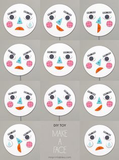 Make a face! DIY toy with changing faces - Learning about Emotions #kids #printable