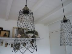 chicken wire. Hum, can use to re-shape the shade in my kitchen and cover with fabric