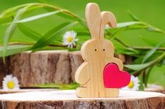 Bunny wooden bunnies love heart rabbit lover gift brother