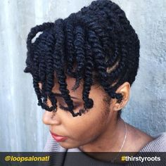 """Updo Hairstyle Two-strand-twists-bangs-updo-natural-hairstyle - Finding a """"go-to"""" natural hair updo hairstyle that fits into your weekly routine, will be a life saver. It is not easy keeping up with styling hair. Protective Hairstyles For Natural Hair, Natural Hair Twists, Pelo Natural, Natural Hair Updo, Natural Hair Care, Natural Hair Styles, Hair Twist Styles, Flat Twist Hairstyles, Braided Hairstyles"""