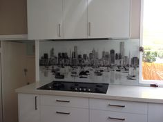 Black & White Photograph of Melbourne from Williamstown. Printed Glass Splashbacks, Kitchen Prints, Glass Design, Melbourne, Kitchen Ideas, Kitchen Cabinets, Photograph, Black And White, House