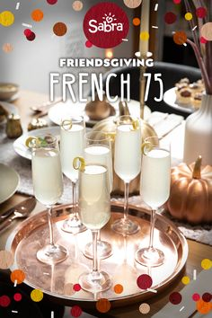 Friendsgiving is the ultimate kick-off to the holiday season. So bring on the festivities with your Thanksgiving Games For Kids, Thanksgiving Drinks, Thanksgiving Sides, Holiday Drinks, Thanksgiving Crafts, Holiday Parties, Champagne Recipe, Champagne Drinks, Cocktails