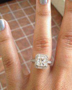 Engagement ring, Princess cut Halo