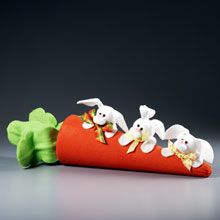 Three Baby Bunnies and One Very Big Carrot