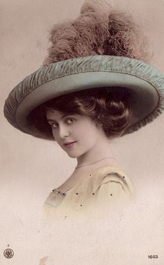 Ephemera ~ Vintage Postcard.. Love the hat! Very bold fashion statement :-)