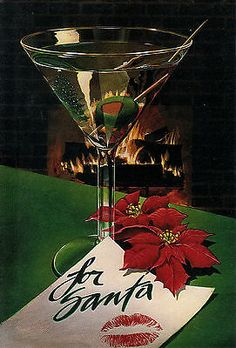 'A COCKTAIL FOR SANTA' by Robert Tolone (1981) Collage Drawing, Sketch Painting, Christmas Greeting Cards, Christmas Greetings, Paper Moon, Retro Images, Holiday Mood, Retro Pop, Airbrush Art