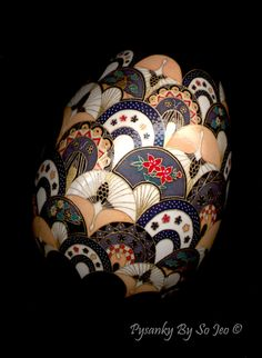 Cranes and Fans Pysanky Egg by So Jeo on Etsy