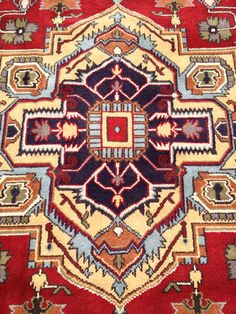 Hand Knotted Persian Heriz 8x10 Geometric Red/Blue Wool Area Rug in Perfect Condition!! -196