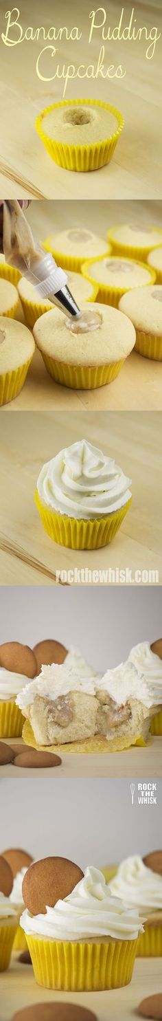 Golden vanilla cupcakes filled with sweet, all-natural banana pudding and topped with a silky, thick whipped cream frosting. Yum!