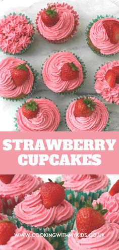 Deliciously easy strawberry cupcakes kids will love making and eating! They're the perfect twist on a classic vanilla cupcake, for any strawberry lover. #strawberry cupcakes #strawberry #how to make #from scratch #recipe #easy recipe #recipe from scratch