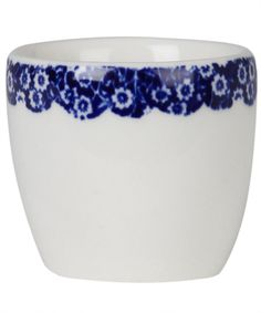 CALICO BLUE BORDER EGG CUP, BURLEIGH
