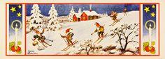 Stor bonad - Tomtar i skidbacke av Jenny Nyström, gammal - Steinssons bokmärken