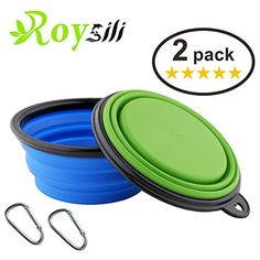 Roysili 2 Pack Small Collapsible Dog Bowl (1.5 Cups,12oz), FDA Approved BPA Free Silicone Travel Bowls and Cups for Dog Cat Food