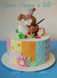 So many incredible Easter cakes, I can't decide what to make! Lucia Salmaso, such a hard working bunny. Pink Cake Box has the best eggs in town. How adorable is t… Easter Cupcakes, Easter Cookies, Easter Treats, Fondant Cakes, Cupcake Cakes, Easter Cake Fondant, Bolo Cake, Spring Cake, Holiday Cakes