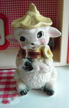 Thrifted vintage lamb cookie jar