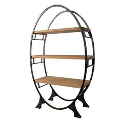 Black and Brown Oval Bookcase