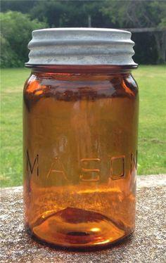 Mason straight line Amber Pint Fruit Canning Jar zinc lid