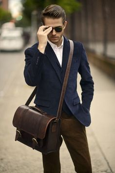 Navy blazer + white dress shirt + olive pants + leather messenger bag