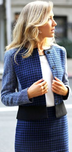 Black And  Blue women fashion outfit clothing style apparel @roressclothes closet ideas
