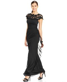 Betsy & Adam Lace Ruched Gown - Dresses - Women - Macy's