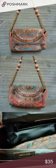 "Vintage Leather & Corduroy Purse with Chain Strap ***** MAKE OFFER!!! ***** Sweet and stylish vintage style! This purse is a nice companion to the soft pink colors in your wardrobe. A delicate yet elegant complementary piece that is sure to make you that darling of the group!  *** ITEM DESCRIPTION *** *24"" Gold Chain and Light Pink Bead Strap *Height: 5"" *Length: 8"" *Depth: 3"" *Across: 2"" Bags Crossbody Bags"