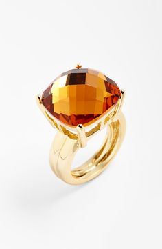 Love the champagne glow of this square stone cocktail ring.