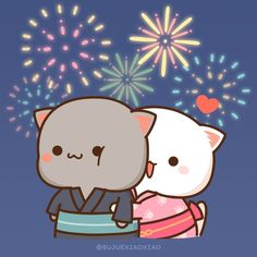 Images Kawaii, Cute Cartoon Pictures, Cute Animal Drawings Kawaii, Cute Drawings, Chibi Cat, Cute Posts, Mochi, Cat Stickers, More Cute