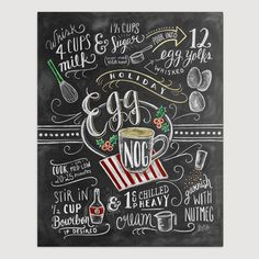 Holiday Decor - Egg Nog Recipe Print - Chalk Art- Chalkboard Decor - Christmas Kitchen Decor - Chalkboard Art - Unique Holiday Decor - Egg Nog is more than rich cream, silky yolks and a hint of Christmas cheer; Chalkboard Decor, Chalkboard Print, Christmas Chalkboard, Kitchen Chalkboard, Chalkboard Designs, Lily And Val, Unique Christmas Cards, Reclaimed Wood Frames, Eggnog Recipe
