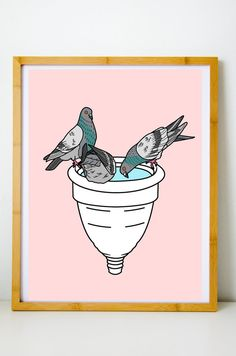 Pigeon, Cup Art, Menstrual Cup, Save The Planet, Original Artwork, Diva, Finding Yourself, Poster Prints, Card Making