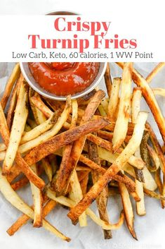 Make these low carb, healthy crispy turnip fries next time you are craving fries! They are come out browned and crispy ever time and are keto friendly. #sidedish #kidfriendly #quickandeasy Low Carb Side Dishes, Side Dish Recipes, Low Carb Recipes, Cooking Recipes, Healthy Recipes, Healthy Fries, Dinner Recipes, Low Carb Vegetarian Recipes, Vegetarian