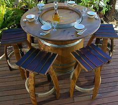 WINE BARREL TABLE AND SIX OAK STOOLS / KITCHEN / DINING / TABLE / BARBEQUE/WOOD