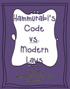 In this activity students are given a list of laws from Hammurabi's Code, modern laws, and punishments for each. They match up the Hammurabi's Code law to the modern law and choose which punishment they agree with. Then they pick which law they find most important and explain why.