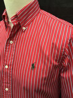 #Polo #RalphLauren #Mens #Shirt #Small #Custom #Fit #Red #White #Black #Striped #Cotton #eBay #triedandtested #menswear