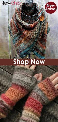 Shop Today Women's Casual Multicolor Stripes Round Neck Scarves Crochet Gloves, Crochet Slippers, Knit Crochet, Crochet Wrap Pattern, Crochet Patterns, Knitting Designs, Knitting Patterns Free, Free Pattern, Knitting Yarn