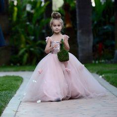 THE BLUSHING ELIZABETH Gown - Flower Girl Dress - Lace Dress - Bridal - Wedding…