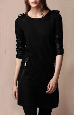 Vestido charreteras combinado piel manga larga-Negro EUR€25.34