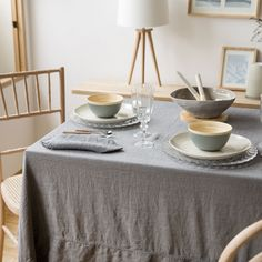 Gray Washed Linen Napkins And Tablecloth